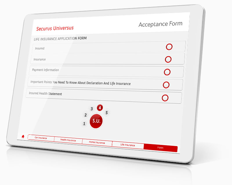 Screenshot of Financial Services screen