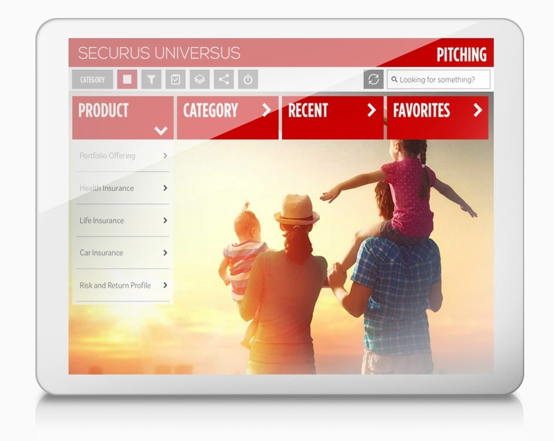 Screenshot of Financial Services screen